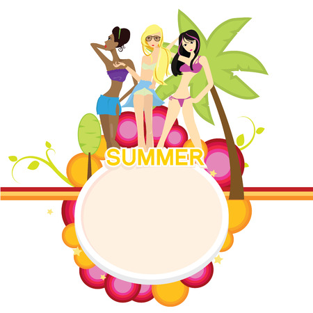 long drink: summer girls with holiday and fun background