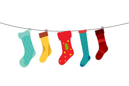 white socks: cute colorful hanging christmas socks in line