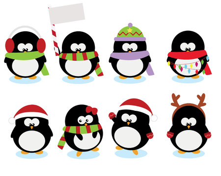 little: collection set of cute little penguins for chirstmas holidays