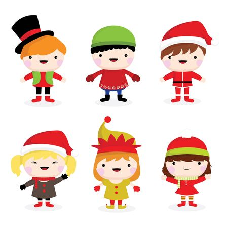 little boys: collection of cute little christmas children of boys and girls