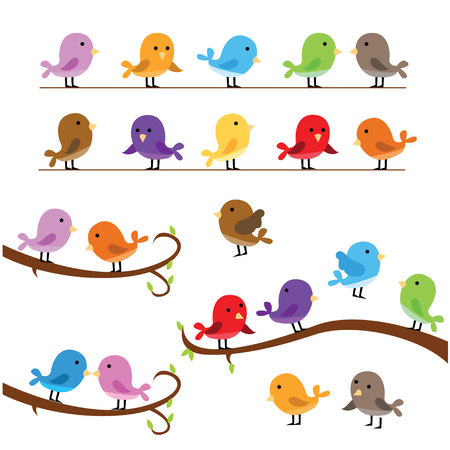 collection set of cute little fun colorful birds