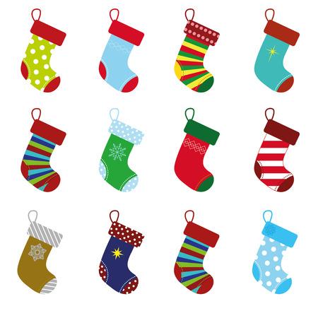white socks: collection of colorful christmas socks for holiday season