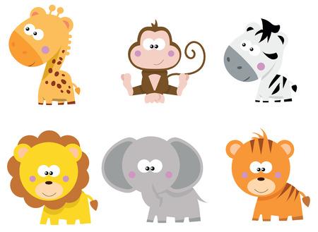 jungle animals: collection of cute cartoon little Safari jungle animals
