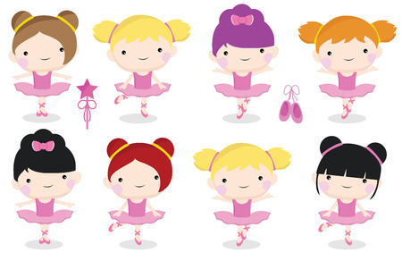 a set of cute and pretty ballerina girls in pink