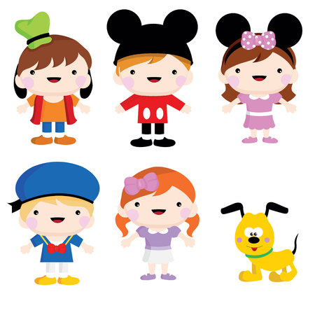 myszy: komplet mickey mouse dzieci kostium i partii Ilustracja