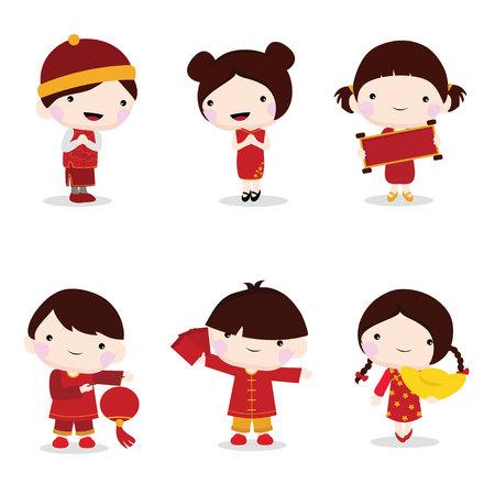 niños chinos: la celebración china del Año Nuevo de los niños