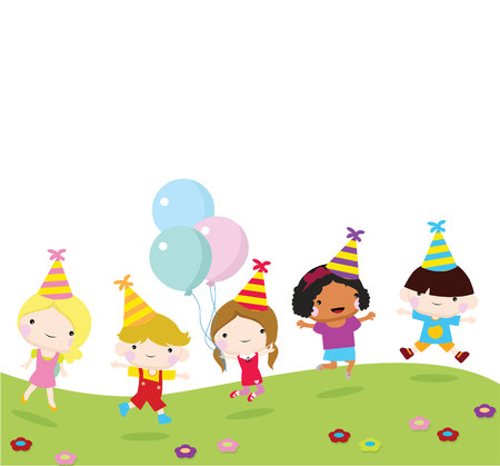 children party with jumping children, fun and celebration