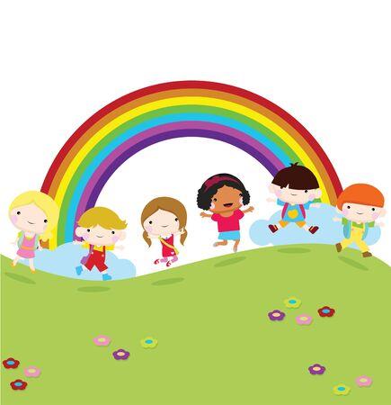 children running: children running to school with grass and rainbow background Illustration