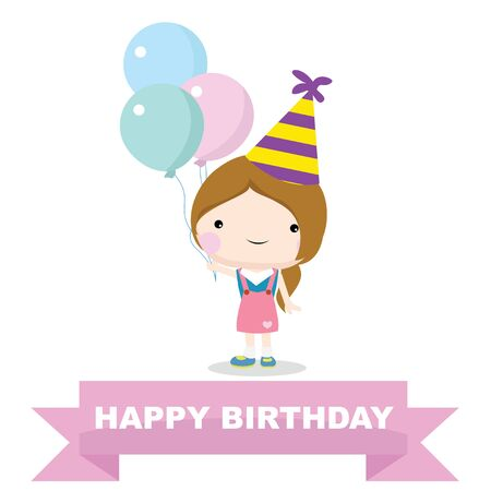 birthday party: happy birthday boy, celebration and party Illustration