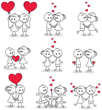Sammlung Satz von cute Paar doodle mit Herzen Standard-Bild - 55158488