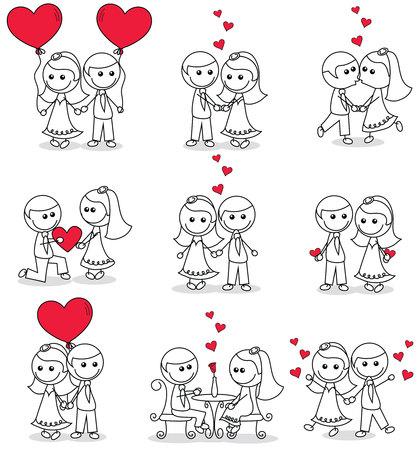 collectie set van schattige paar doodle met hartjes