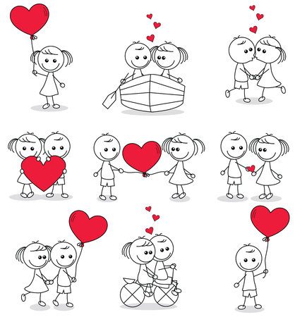 collection set of cute couple doodle with hearts Reklamní fotografie - 55158489