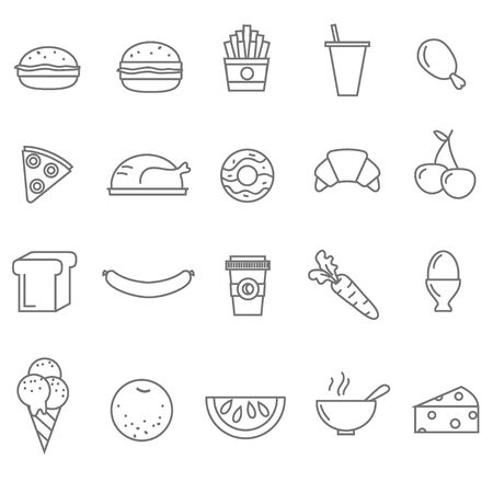 raw egg: Line food icons set of 20