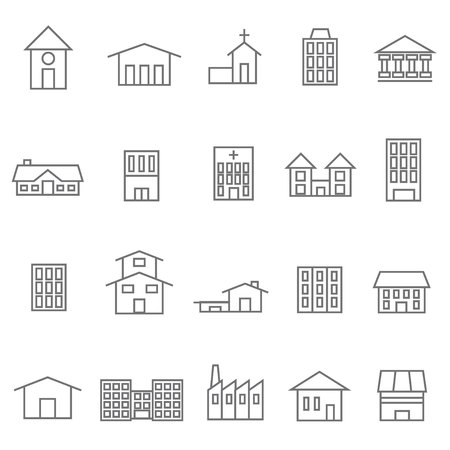 two storey: house and building icons set of 20