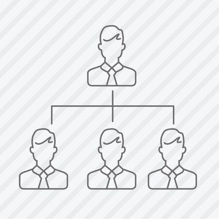 friend chart: Vector flat line businessmen icon Illustration