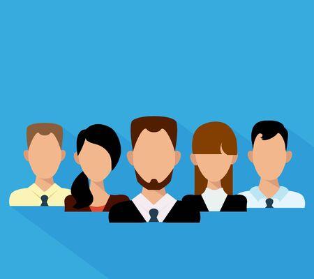 smart boy: Flat business people in a team. Vector illustration. Illustration
