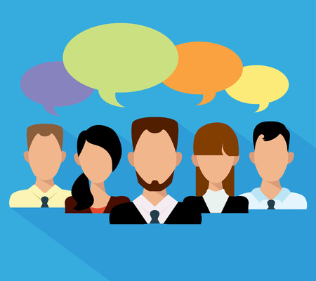 Flat business people in a team speech bubble. Vector illustration.