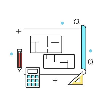 Blue print plan construction line icons. Vector illustration