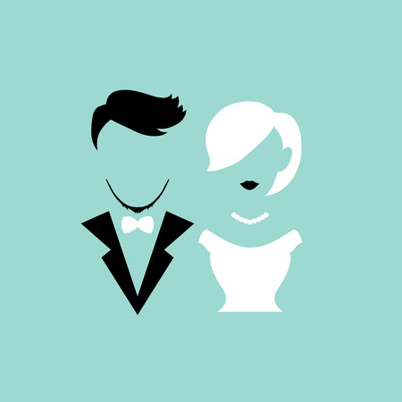 Silhouettes couple for valentine, wedding and romance Illustration