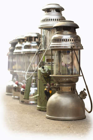 Old lanterns isolated on the background photo