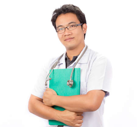 male doctor crossed arms on white background photo