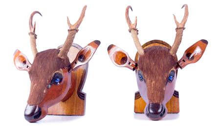elk point: Deer wood vintage object on white background Stock Photo
