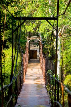 Old suspended bridge in thailand photo
