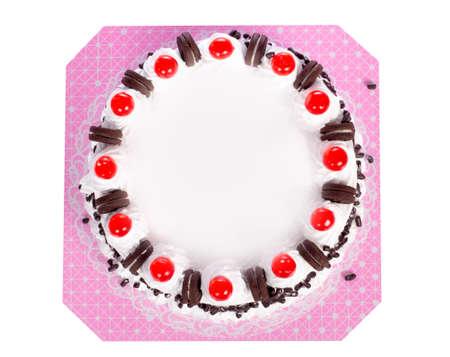cakes background: Pastel de cumplea�os con escritura desde arriba aislado en blanco