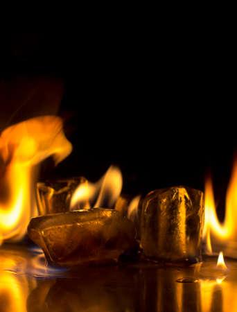 evaporating: Burning ice cube on  background