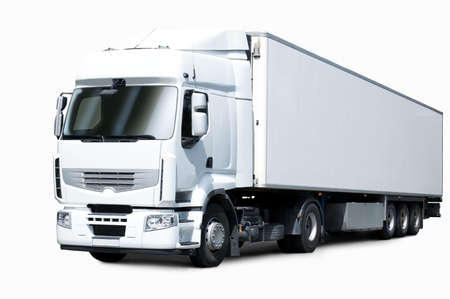 fuel truck: white truck and trailer
