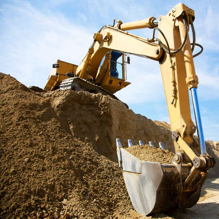 flatten: excavator Stock Photo