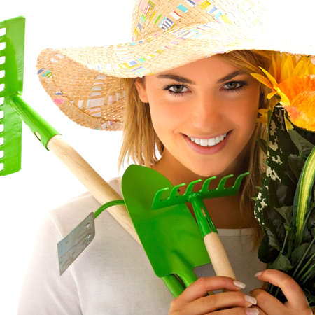 garden tool: girl portrait with gardening tools Stock Photo