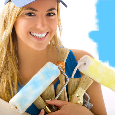 portait of blonde girl and painting tools  Stock Photo