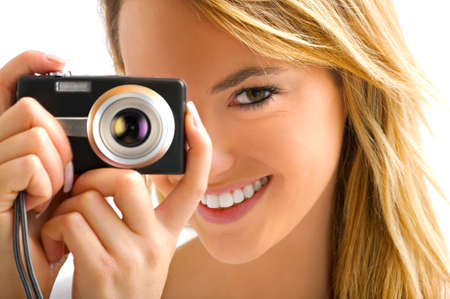 young blond girl with camera Stock Photo - 5505139