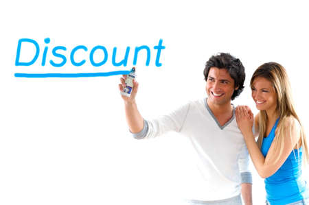 man and girl writing discount prices Stock Photo