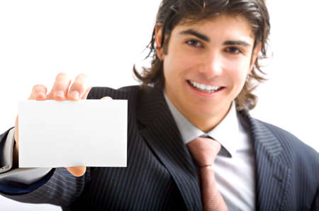 young man with card Stock Photo