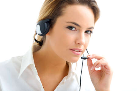 young woman in customer service Stock Photo