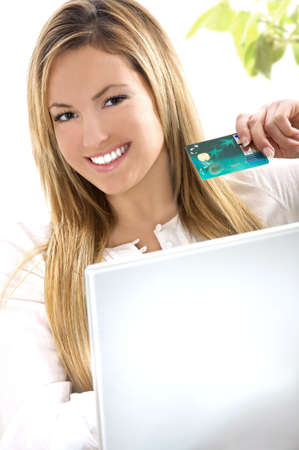 Beautiful girl with credit card Stock Photo