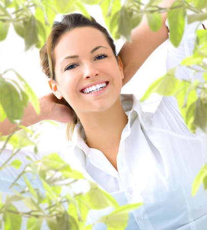 young woman with plant photo