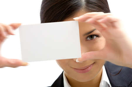 assistant with  white card Stock Photo