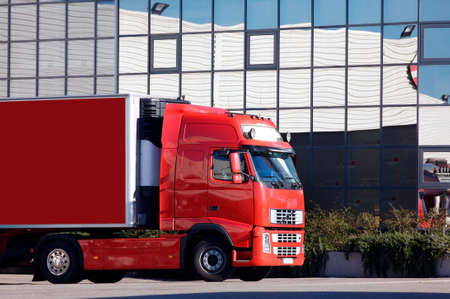 a red truck at warehouse Stock Photo
