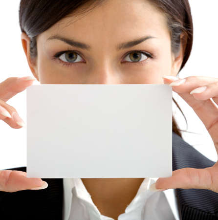 presentation card: woman assistant with  white card