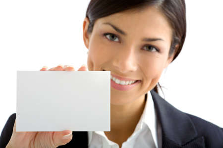 woman with  white card
