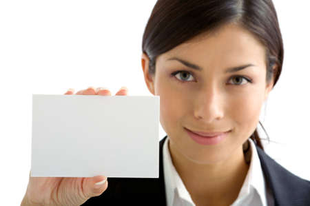 young woman with  white card