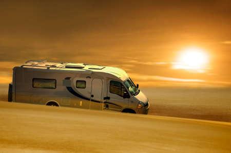 motorhome: grease van in desert