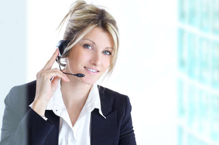 blond woman with headphones photo