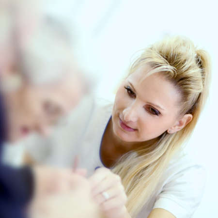 medical personal with senior Stock Photo