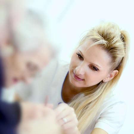 paramedical: medical personal with senior Stock Photo