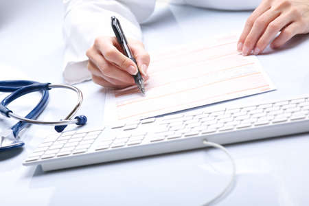 medical hands with keyboard Stock Photo