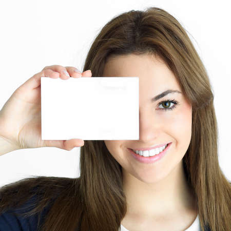 blank faces: young brunette  assistant with card and eye